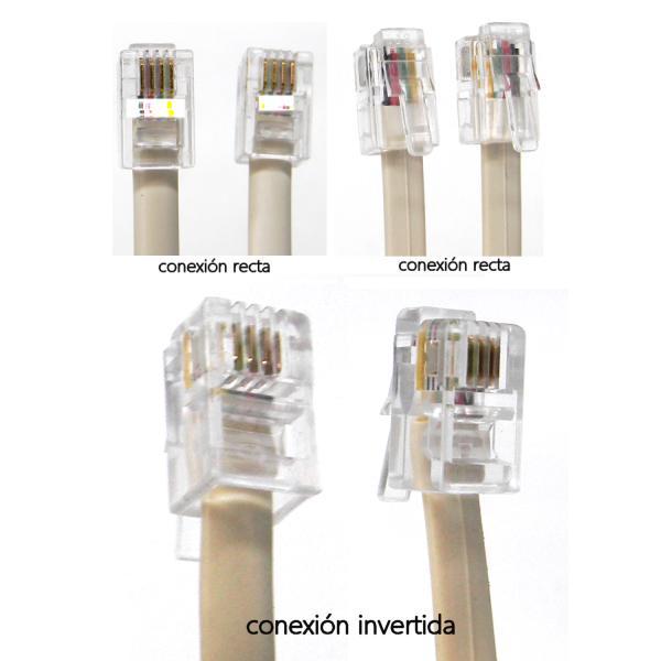 conexión RJ9 recta e invertida