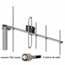 Antena Yagi 400 a 470MHz 6dBi 5m TNC macho