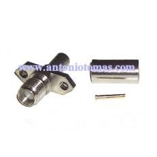 Conector SMA hembra cable RG58 panel 2 tornillos crimpar